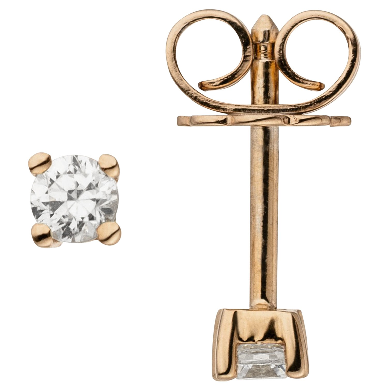 Ohrstecker 585 Rotgold 2 Diamanten Brillanten 0,14ct. Ohrringe