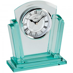 Stiluhr Tischuhr Quarz analog silbern Massives Glas