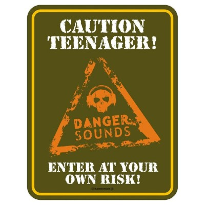geprägtes Blechschild Caution Teenager