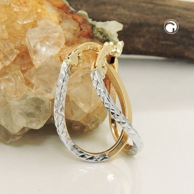 Creolen Ohrringe bicolor diamantiert 375 Gold