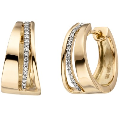 Creolen 585 Gelbgold bicolor 34 Diamanten Brillanten Ohrringe Goldcreolen