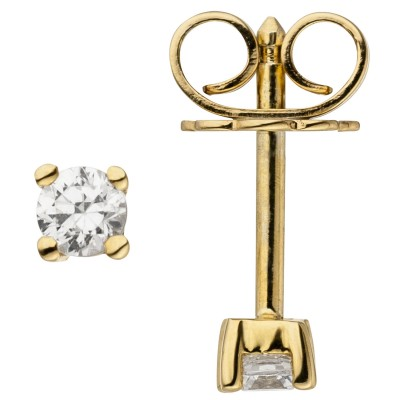 Ohrstecker 585 Gelbgold 2 Diamanten Brillanten 0,14ct. Ohrringe